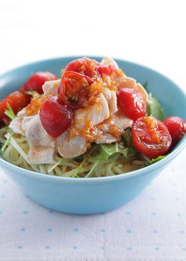 豚しゃぶとトマトだれの冷やし中華 のレシピ・作り方 │ABCクッキングスタジオのレシピ   料理教室・スクールならABCクッキングスタジオ
