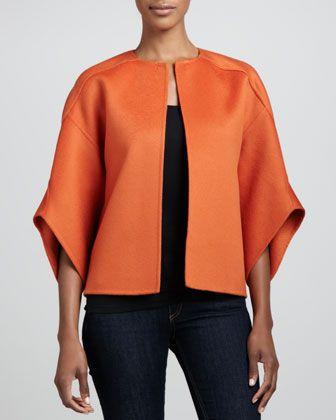 Michael Kors Melton Wool Bolero Jacket, Paprika - Neiman Marcus