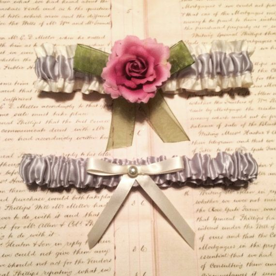 Vintage Style Pink Rose Garter by LilBlueHeart on Etsy
