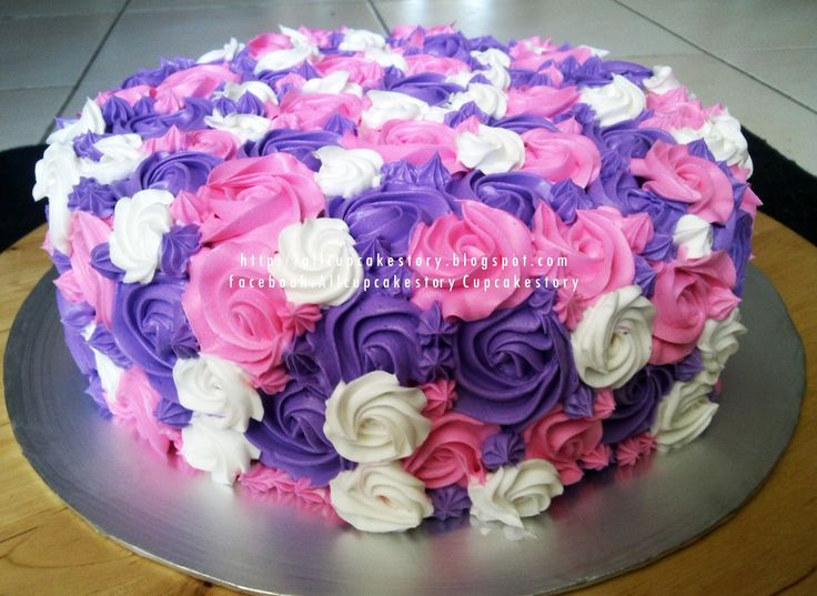 Birthday Cake With All Lavender Flowers For Jan Theme Purple Pink Flower