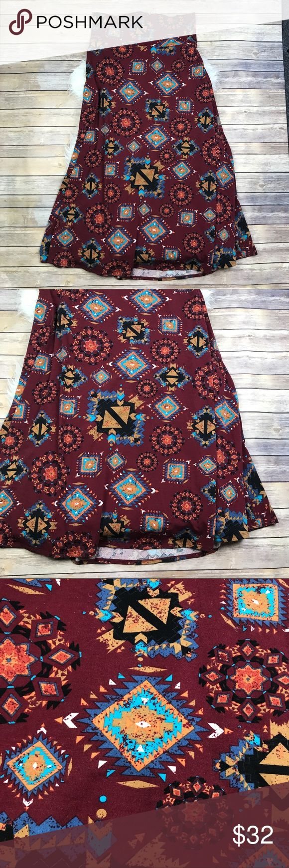 "LuLaRoe Aztec Tribal Maxi Skirt Excellent condition LuLaRoe Aztec Tribal Maxi Skirt. Size XL (18-20). Smooth 96% spun polyester, 4% spandex. Waistband can be folded down. 44"" long. No trades, offers welcome. LuLaRoe Skirts Maxi"