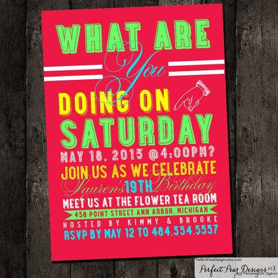 Birthday Party Invitation, Neon Modern Girl, Boy, Adult, Teen, Kids, or Baby - Pink, Turquoise, Yellow - Printable, DIY, Digital