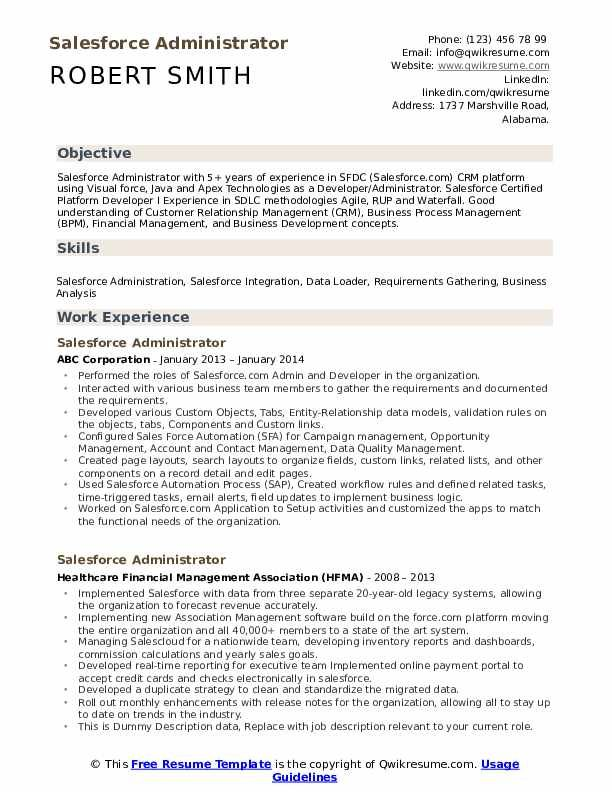 Salesforce Administrator Resume Samples Medical Sales Resume Sales Resume Job Resume Examples