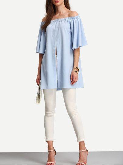 Schulterfreie Bluse mit Rüschen Ärmeln und Schlitz -hell blau