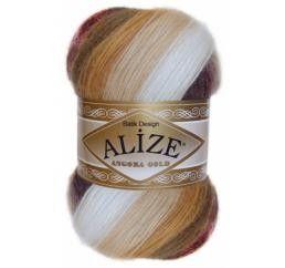 ALIZE ANGORA GOLD BATIK  Пряжа для ручного вязания. Мягкая пушистая пряжа для вязания шарфов, шапок, различных аксессуаров. Подходит как для спиц, так и для крючка. Пряжа секционного крашения с длинными переходами цветов.  Производитель  ALIZE  Длина нити  550 м  Вес  0.1 кг  Упаковка  5 шт.  СОСТАВ  10% мохер, 10% шерсть, 80% акрил