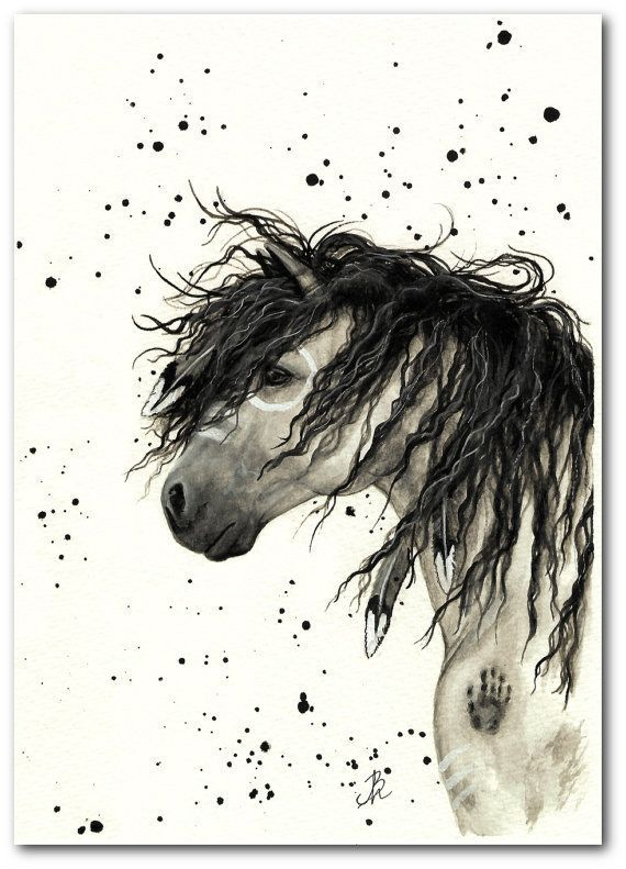 Native American Horse Painting | Mustang Curly Horses Native American Feathers by ... | Art Animals