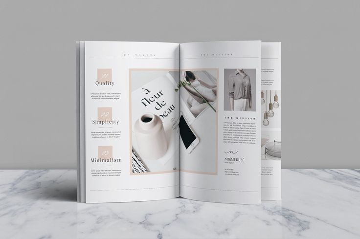 Editorial Portfolio PSD - Noémi by Nonola on @creativemarket Printing brochure template with one of the best creative design and great cover, perfect for modern corporate appearance for business companies. This layout is modern, simple and feminine; have a good inspiration or grab some ideas.