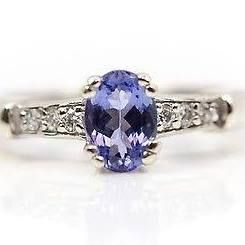 14kt White Gold Solitaire Tanzanite And Diamond Accent Ring - 3.0g Sz 6.5