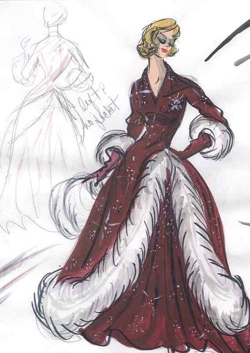 Edith Head sketch for Rosemary Clooney in White Christmas (1954)     #EasyNip:
