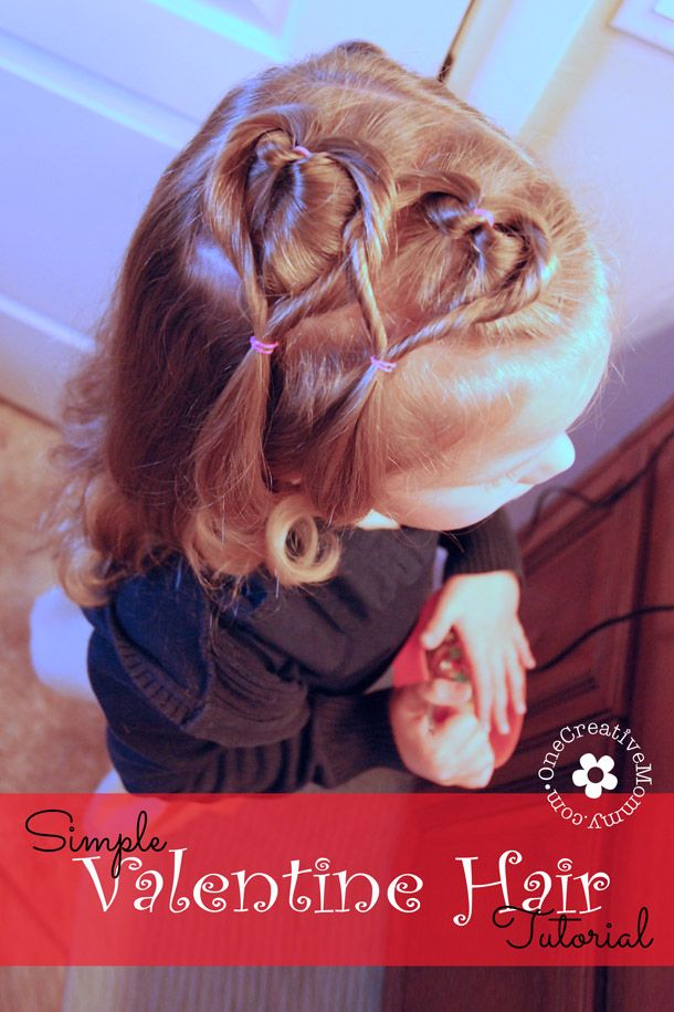 Create this easy Valentine hair style in ten minutes or less!  I'll show you how.  {OneCreativeMommy.com} #valentinehair #hearthair
