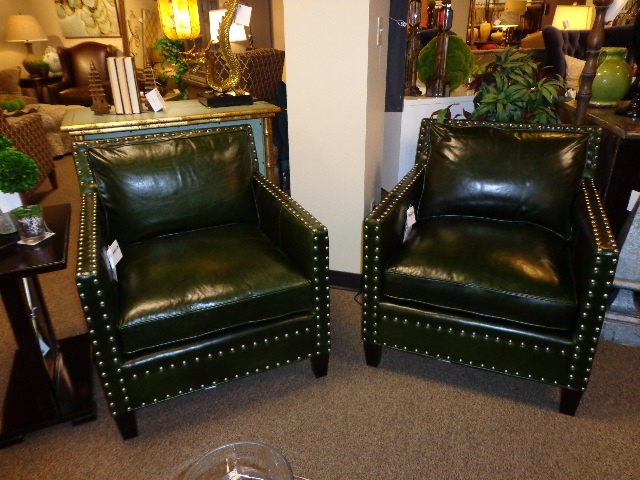 High Quality Southern Furniture Green Leather Chairs
