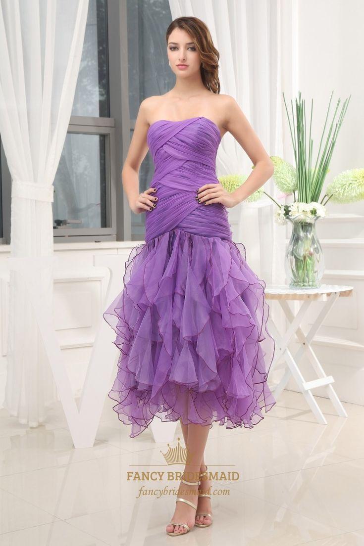 tea length formal dresses   Occasion Dresses Homecoming Dresses Purple Tea Length Formal Dress ...