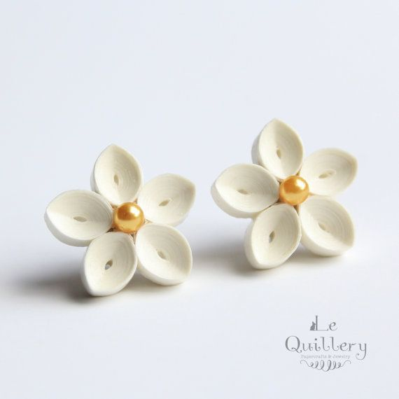 Quilling Jewelry, Quilled Paper Earrings Ivory Flower Stud Earrings