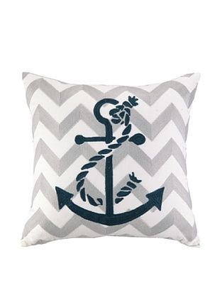 48% OFF Peking Handicraft Anchor Embroidered Chevron Pillow