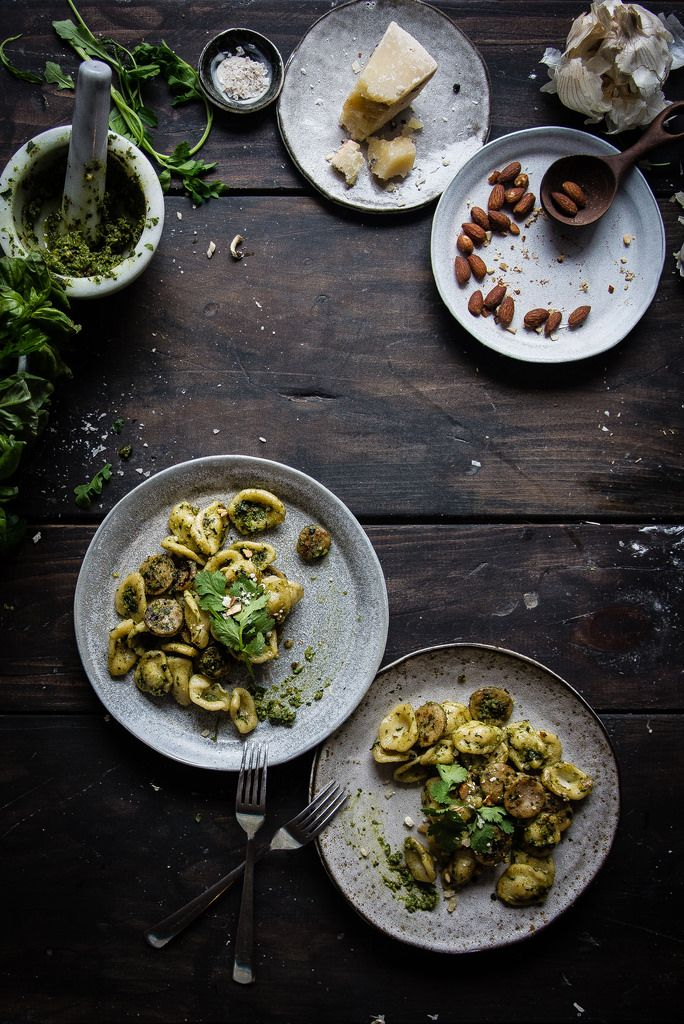 orecchiette with spring herb pesto and sausage.