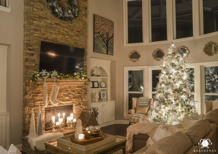 Two Story Christmas Great Room At Night With Elegant White
