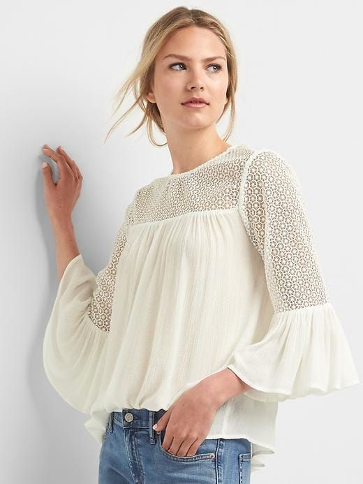Gap Womens Lace Bell Sleeve Top New Off White Size L