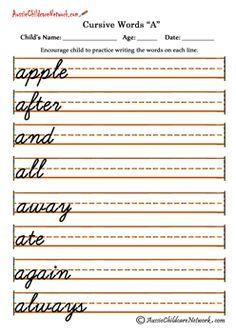 Cursive Words alphabets A a