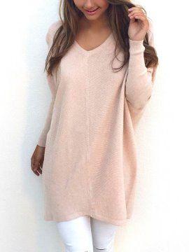 Suéter Largo Cuello V Varios Colores de Mujer  2bc727ec192f