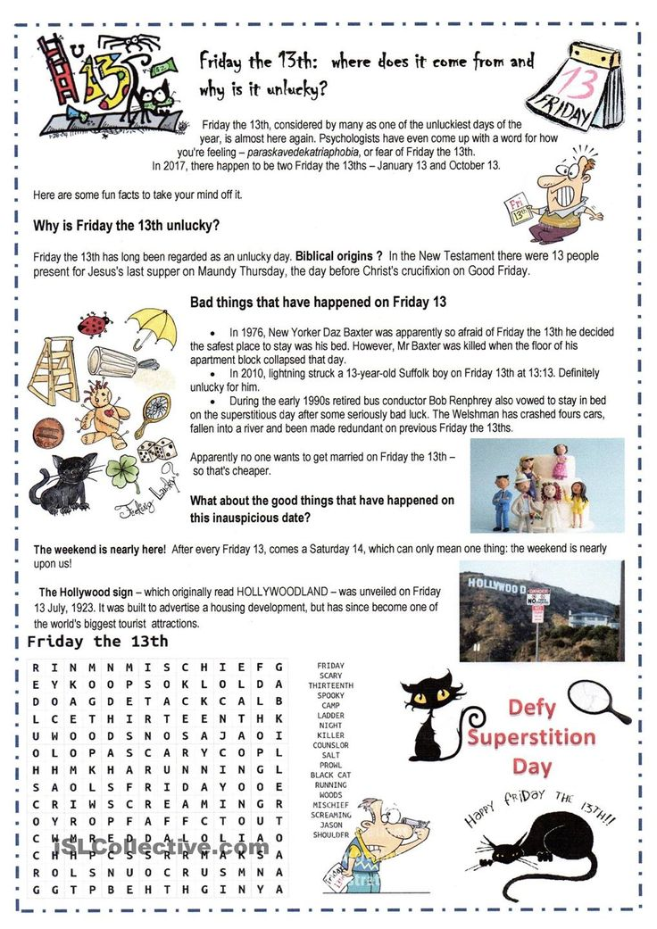 13th Grade Worksheets : Friday th esl worksheets of the day pinterest