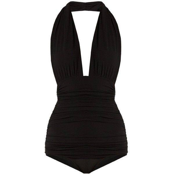 Norma Kamali Bill halterneck swimsuit ($515) ❤ liked on Polyvore featuring swimwear, one-piece swimsuits, swimsuits, black, halterneck swimsuit, ruching bathing suit, halter neck one piece swimsuit, halter top and halter neck swimsuit