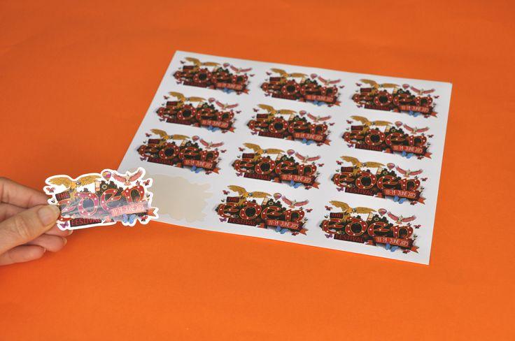 Waterproof bespoke shape stickers supplied kiss cut on sheets for Eden Festival