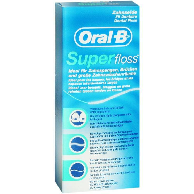 ORAL B Zahnseide Superfloss:   Packungsinhalt: 1 St PZN: 03934341 Hersteller: Procter & Gamble GmbH Preis: 3,25 EUR inkl. 19 % MwSt.…