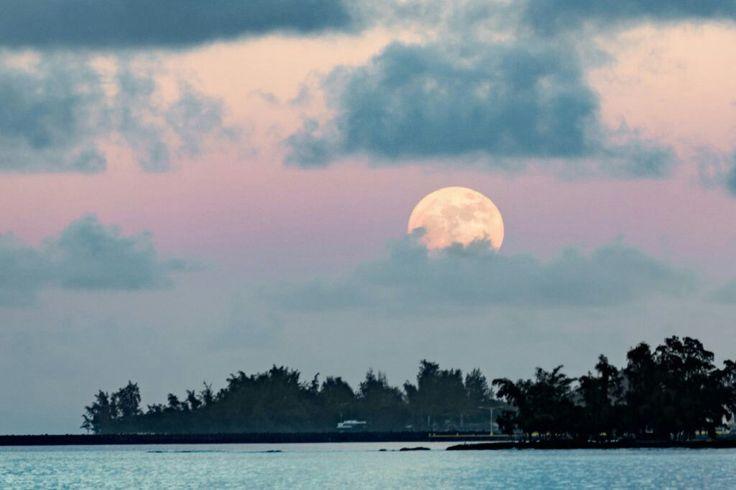 Esta imagen muestra la salida de la Luna sobre la ciudad costera de Hilo (Hawái). Fue tomada al atardecer del domingo, 13 de noviembre de 2016, pocas horas antes de la Luna llena. La foto fue tomada con una cámara Canon EOS 6D; tiene un tiempo de exposición de 1/80 segundos y 200 de ISO.  Crédito: Stephen Z Clark