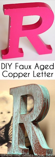 DIY Faux Copper Letter Aged with Blue Patina | Where The Smiles Have Been. Who knew it could be SO easy to make your own aged metal letter….without having a metal letter?! Easily transform just about anything into faux aged copper with just a couple coats of paint, some spritzing, and an afternoon!