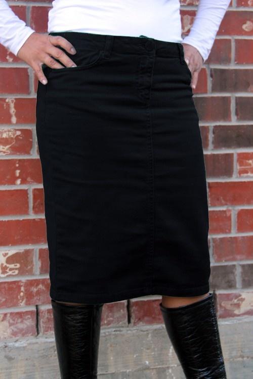 Black Denim Skirt Knee Length