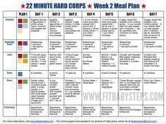 22 Minute Hard Corps Meal Plan Week 2