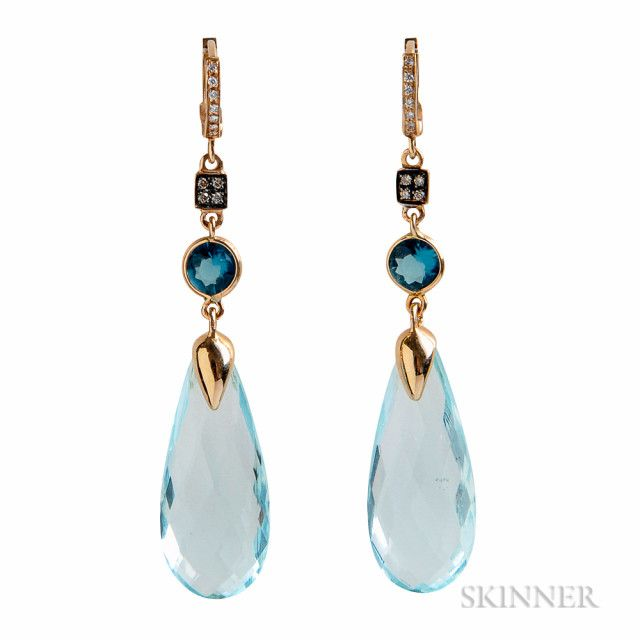 18kt Gold, Blue Topaz, and Diamond Earrings | Sale Number 3055T, Lot Number 1183 | Skinner Auctioneers