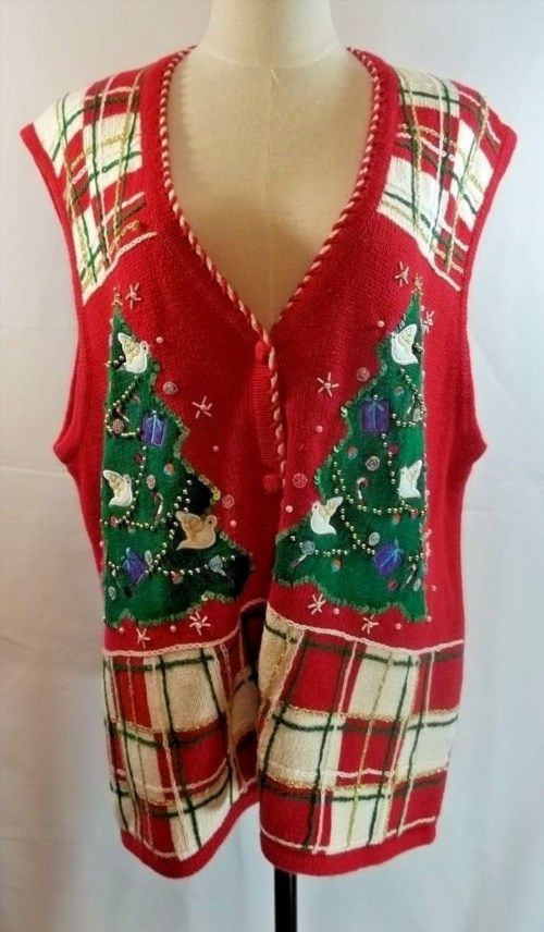 21.77$  Watch now - http://vigjh.justgood.pw/vig/item.php?t=tdzncz38984 - Ugly Christmas Sweater Vest Tree Doves Plaid Red M Beads Sparkly Bobbie Brooks