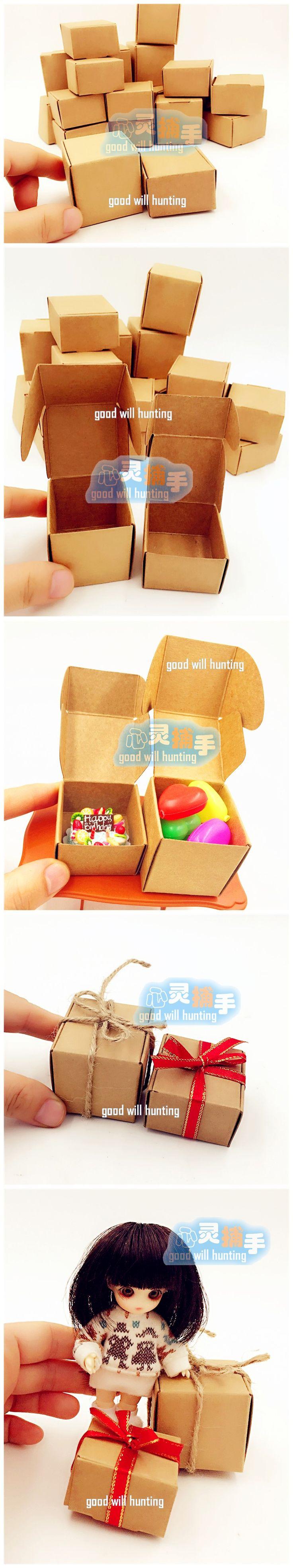迷你比例模型12分6分 牛皮纸微缩纸盒 娃用快递盒礼物盒袖珍纸箱-淘宝网全球站