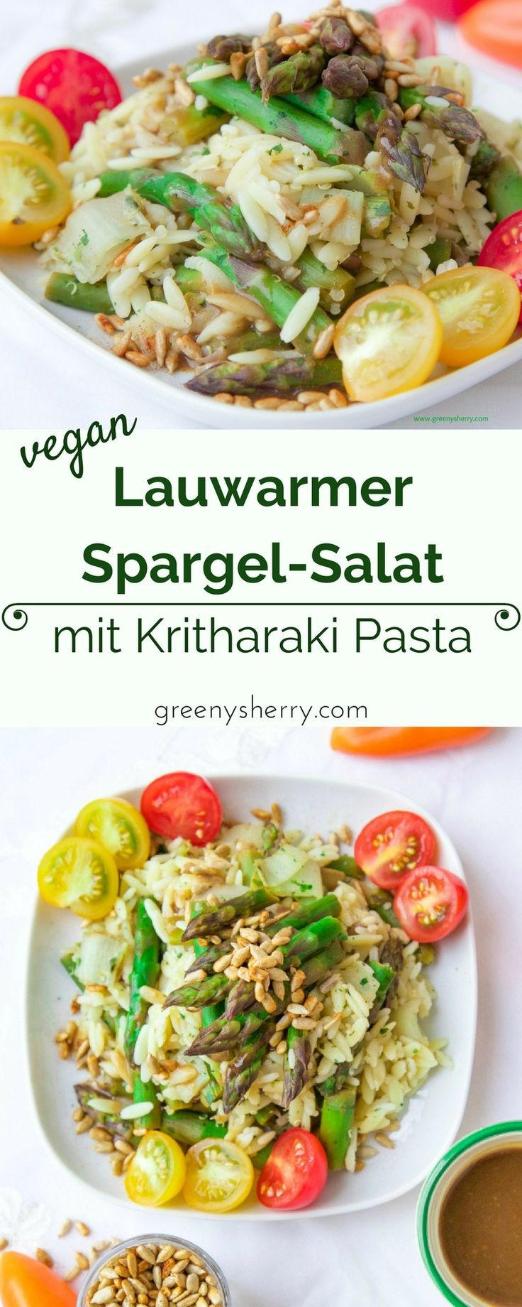 Grüner Spargel-Salat mit Kritharaki-Nudeln, Chicorée und gerösteten Sonnenblumenkernen - www.greenysherry.com - #saisonal #regional #vegan #vegetarisch #gemüse #spargel #grün #eatyourgreens #frühling #mai #salat #lecker #rezept #foodblog #diy #nachhaltig #essen #gesund