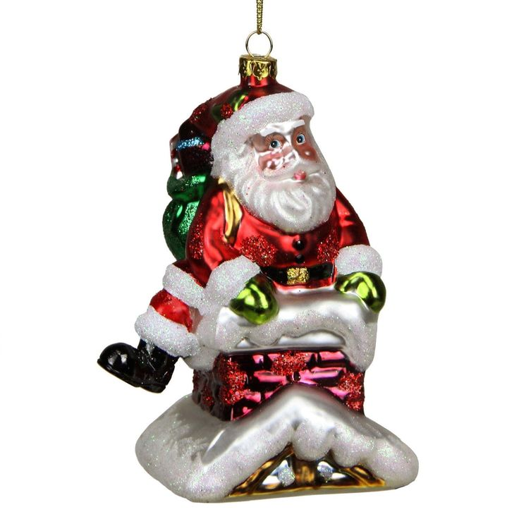 5 Glass Santa in Chimney Decorative Christmas Ornament, Gold