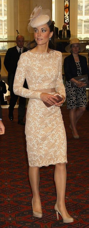 Duke and Duchess of Cambridge, in Alexander McQueen nude coloured lace dress, Jane Taylor hat, and L.K. Bennett pumps | 6.05.12 St. Paul's Cathedral, London, The Queen's Diamond Jubilee Thanksgiving Service | and Westminster Hall, Diamond Jubilee Luncheon
