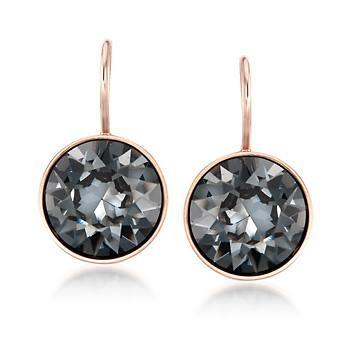 "Ross-Simons - Swarovski Crystal ""Bella Mini"" Silver Night Crystal Drop Earrings. 5/8"" - #838534"
