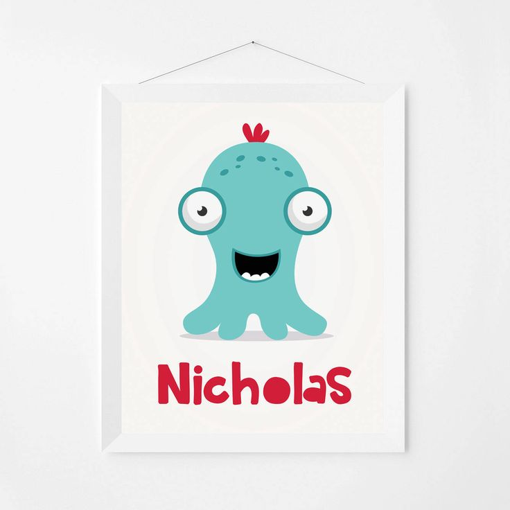 Personalized poster. Custom name wall art print with cute monster illustration. Kids & nursery room decor poster. Made to order file. PMP03 by PenguinGraphics on Etsy