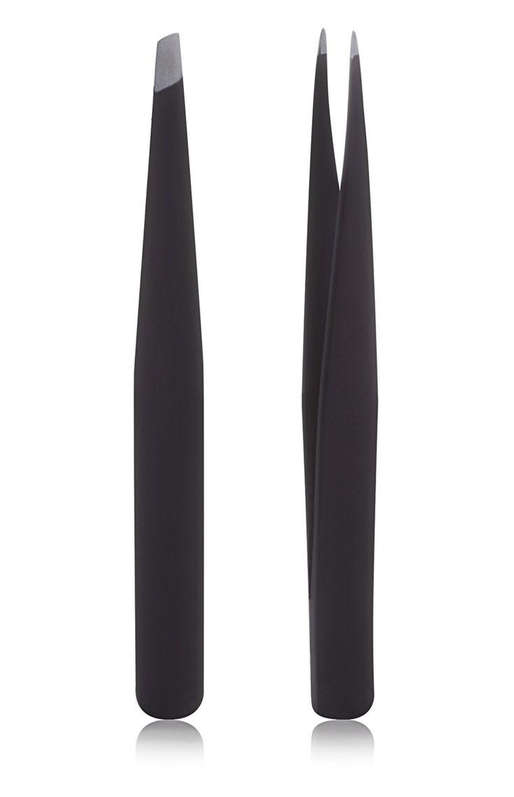 Primark - Pack de 2 pinzas para las cejas negras