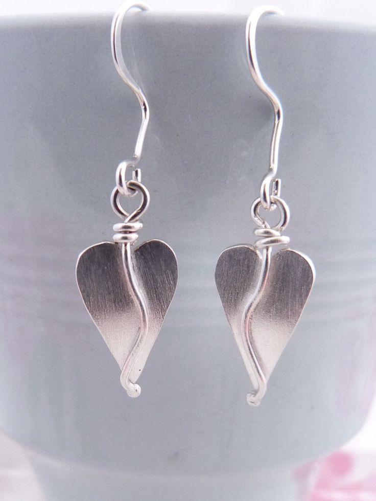 Sterling Silver Heart Charm Drop Earrings, Handmade Organic Heart charm Earrings by TSJewelleryDesigns on Etsy