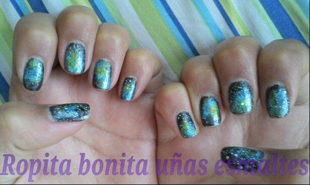 Nail art uñas de galaxia :)