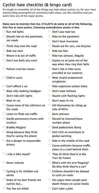 Cyclist Hate Checklist