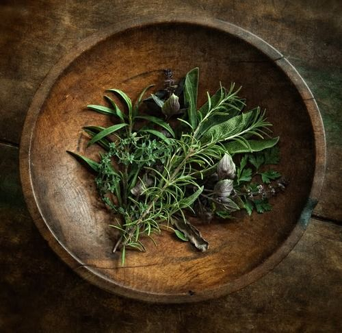 Day 22:  Frangrant decorating!  Parsley, Sage, Rosemary & thyme from the garden in a pretty wooden bowl.