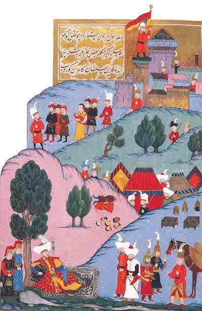 Murad, üç hisarı ele geçirdikten sonra dinleniyor, Hünernâme I. TSM. H1523 (Kaynak: Osmanlı Tasvir Sanatları 1).