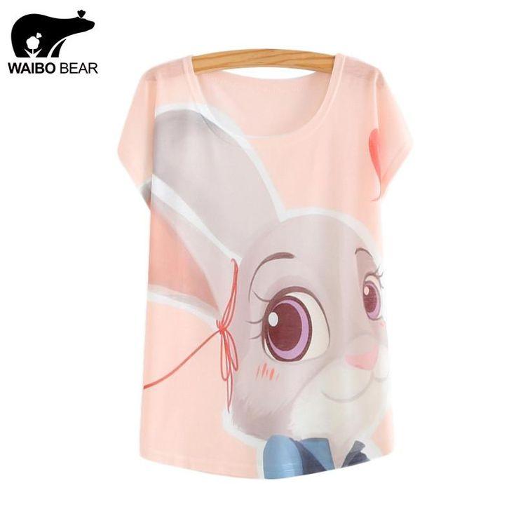 WAIBO BEAR zootopia New Women's T-shirt summer tees top Thin style Cute rabbit Judy print batwing sleeve T shirts women $15.99   #style #iwant #instafashion #sweet #shopping #stylish #swag #cool #pretty #model #streetstyle #fashion #cute #styles #instalike
