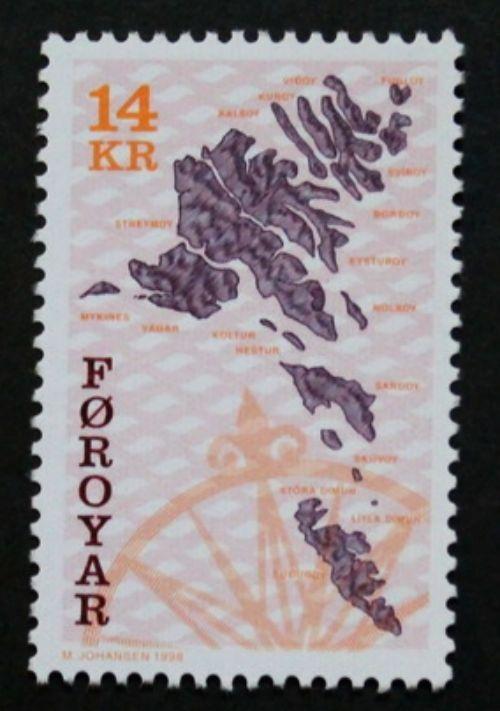 Maps stamp, 1998, Faroe Islands, SG ref: 303, 1 stamp, MNH