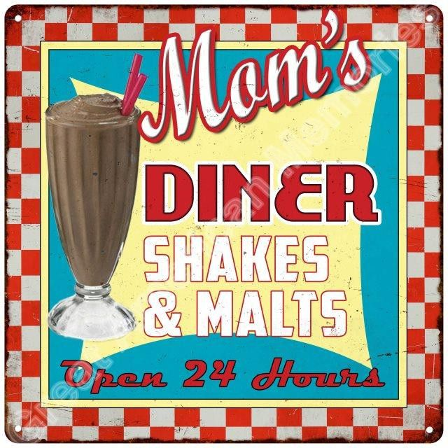 Mom/'s Diner Shakes /& Malts Vintage Reproduction Metal Sign 12x12 2120171