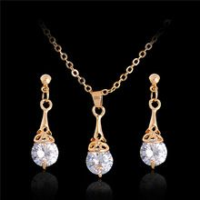 Elegante jóia nupcial define venda quente clássico branco / banhado a ouro gota de água cristal Rhinestone brincos colares conjunto de jóias(China (Mainland))