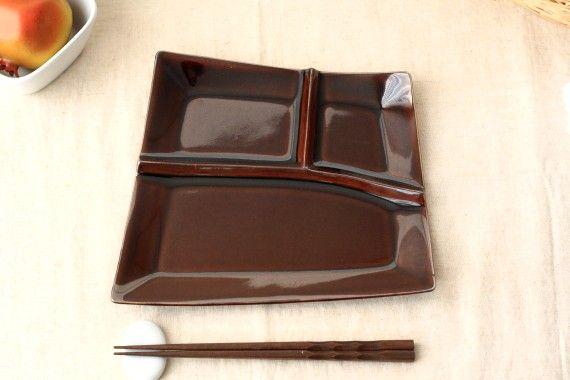 【楽天市場】アメ色軽量カフェランチプレート数量限定です!仕切り 仕切皿 食器 ワンプレート 皿:セラポッケ~かわいい陶器のお店